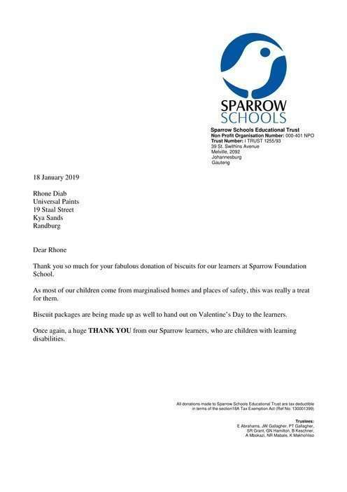 A Huge Thank You from Sparrow Schools 1