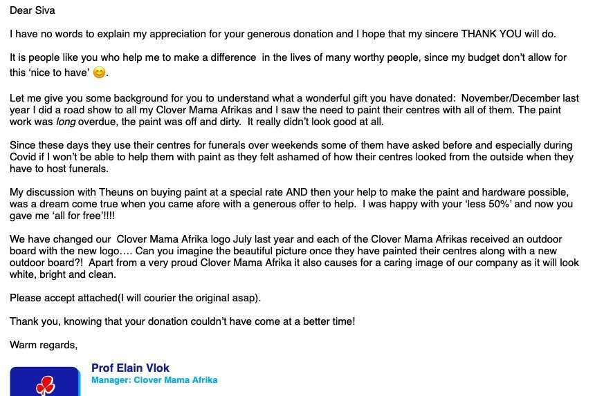 Universal Paints CARES for Clover Mama Afrika 1